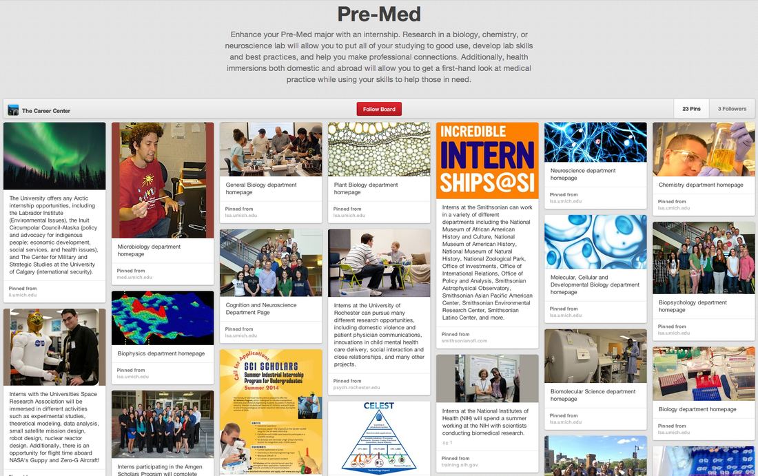 Screenshot of my re-mediating project. Access it by screenreader at www.pinterest.com/tcareercenter
