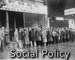 Photo of people standing in unemployment line during the Great Depression - links to Social Policy writing page